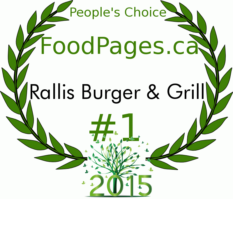 Rallis Burger & Grill FoodPages.ca 2015 Award Winner